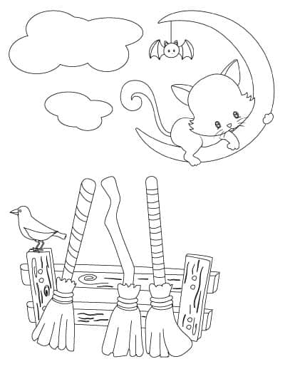 witch booms, moon, and cat coloring page