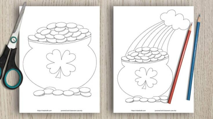 7 Free Printable Pot of Gold Templates (so you don't have to draw them, yourself)
