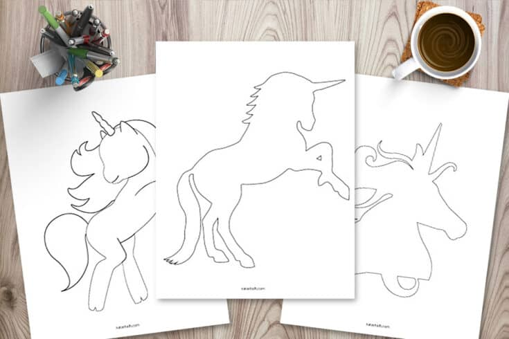 5 Free Printable Unicorn Templates