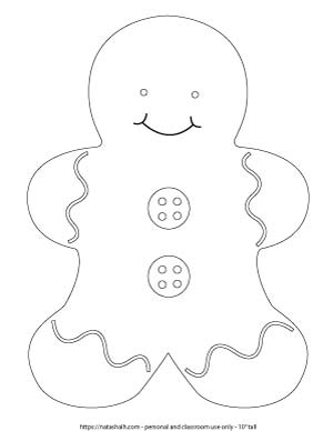 large gingerbread man to print and color
