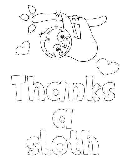 sloth thank you coloring page