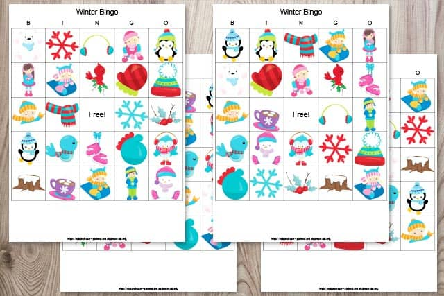 set of 4 winter bingo cards