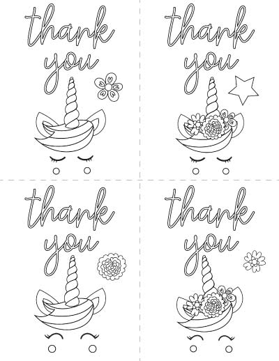 printable unicorn thank you cards