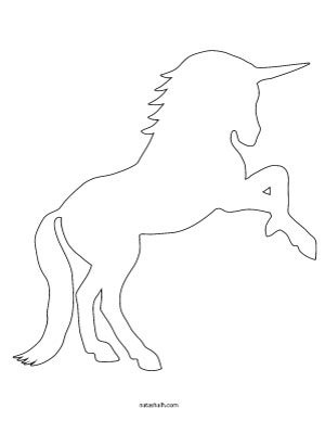 Rearing unicorn outline