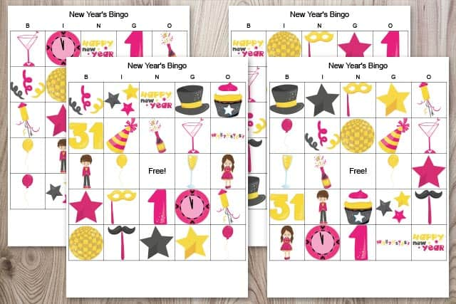 four free printable New Year's bingo cards