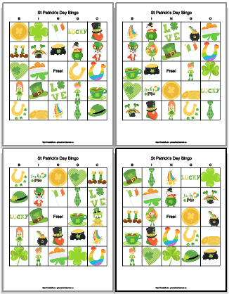 4 free printable st patrick's day bingo cards