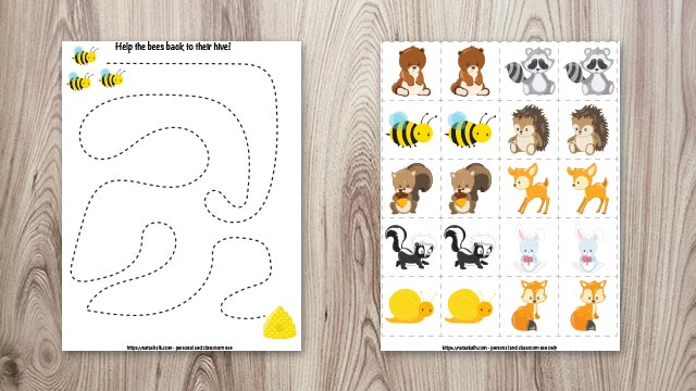 Free printable fine motor practice worksheet for preschoolers and woodland animal matching game for toddlers