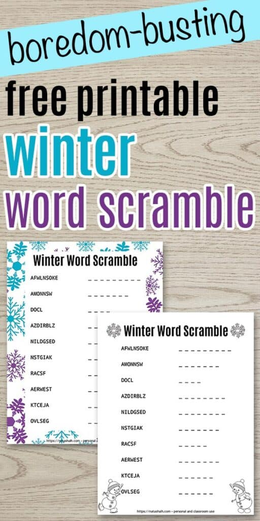 "text ""free printable winter word scramble"" with a preview of two word scrambles on a wood background"