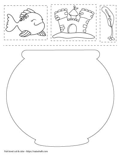 fish bowl cut and color worksheet with a goldfish, aquarium castle, and plant