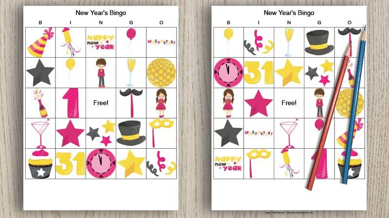 two free printable picture bingo cards for New Year's eve