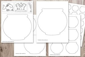 preview of free printable fish bowl outlines on a wood background