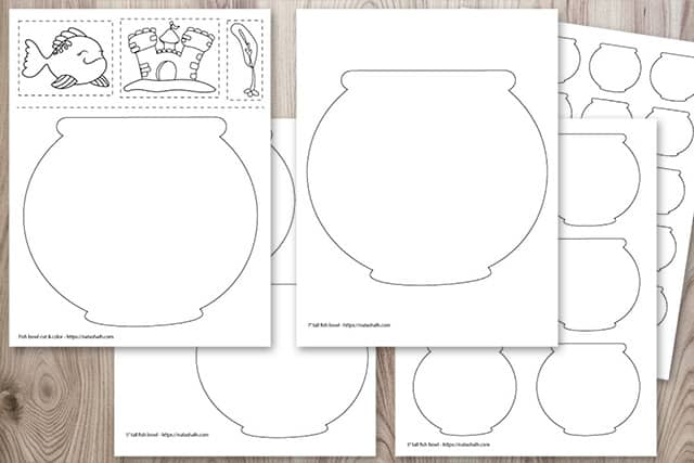 Preview of five free printable fish bowl templates on a wood background