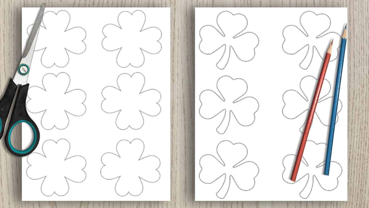 preview of two free printable shamrock templates