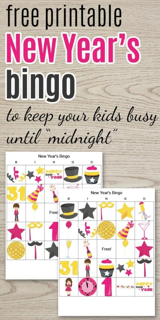 """two new year's bingo cards and text """"free printable new year's bingo to keep your kids busy until midnight"""""""