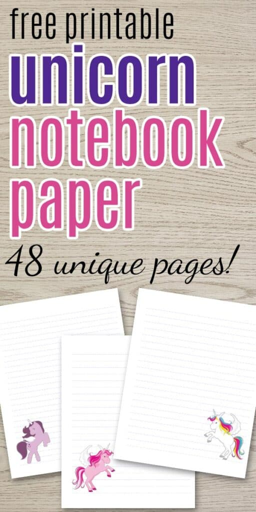 preview of free printable notebook paper with unicorns