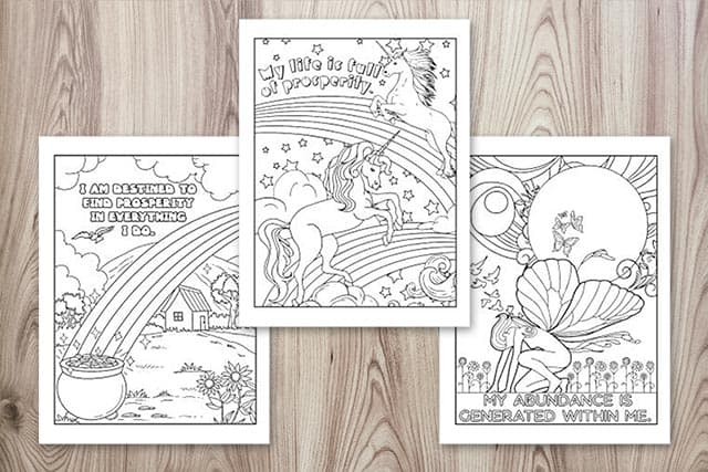 a preview of three adult coloring pages with affirmations