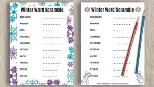 two free printable word scrambles for winter with two pencils on a wood background