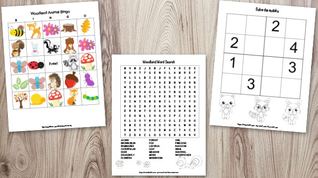 Woodland animal word search, sudoku for kids, and woodland animal bingo preview on a wood background