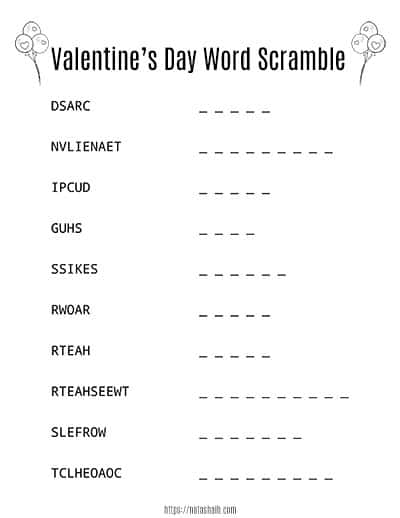 free printable black and white valentine's day word scramble with balloons to color