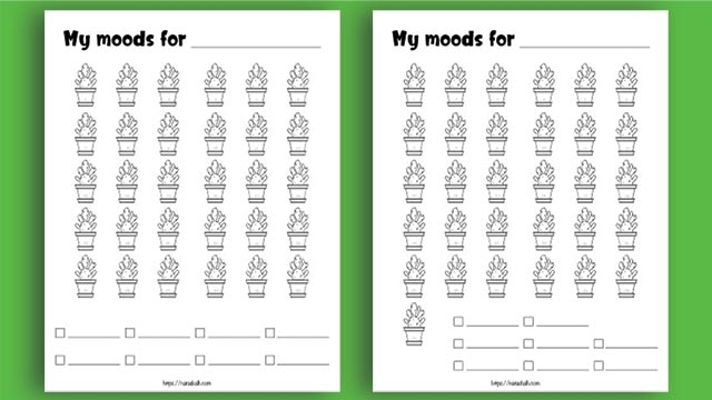 Two printable cactus mood trackers on a green background. One has 30 cacti and the other has 31 cacti.