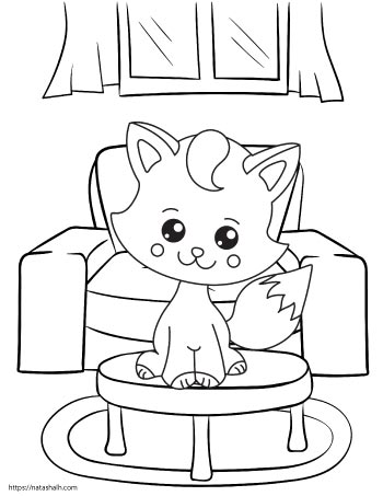 cute cartoon cat sitting on a table in front of a sofa