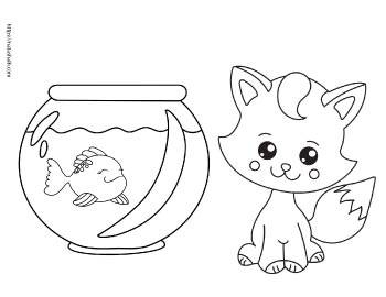 coloring page of cute cat beside a fish bowl with a goldfish in it