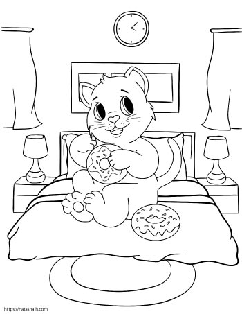 Coloring page of a cartoon cat eating donuts on a bed