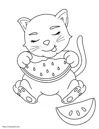 Coloring page of a cat eating a slice of watermelon