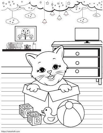 Coloring page of a cat playing in a box of baby toys