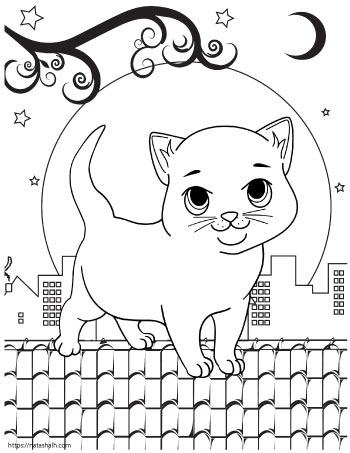 Cartoon cat on a city rooftop at night with the moon in the background