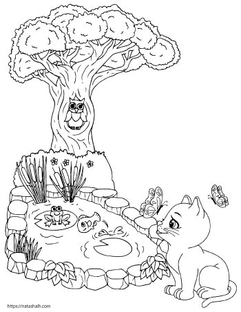 coloring page of a cat playing by a pond outside. The pond has fish and frogs. There is a tree with an owl in it.