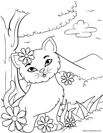 coloring page of a cartoon cat playing outside with flowers