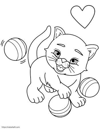 Cartoon cat with three balls and a heart