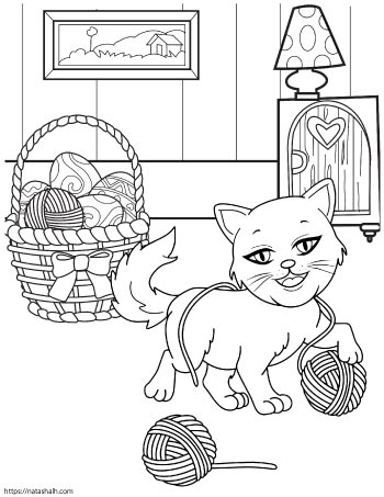 Coloring page of a cartoon cat playing with balls of yarn next to a basket with more yarn in it
