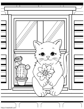 Cartoon cat sitting on a windowsill next to a potted cactusC