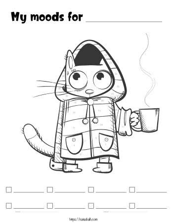 Printable mood tracker featuring an image of a cat wearing a coat with a mug of hot coffee