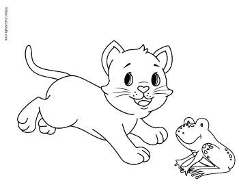 cartoon cat playing with a cute frog