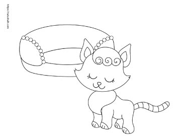 coloring page of cute cat next to a cat bed
