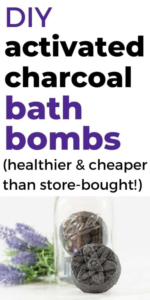 "The text ""DIY activated charcoal bath bombs (healthier and cheaper than store-bought)"" with a picture of a bath bomb"