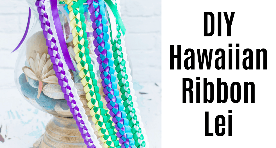 """Text """"diy Hawaiian ribbon lei"""" next to a jar with four braided lei draper over it."""