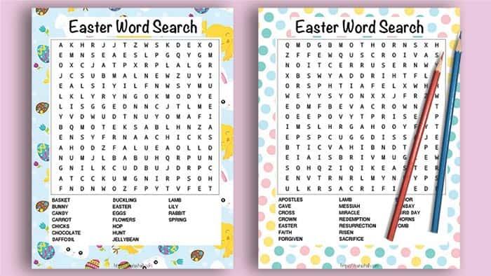 Two printable Easter word searches on a pink background with pencils. One word search has a bunny and chick colorful background. The other word search has pastel dots and features religious Easter words.
