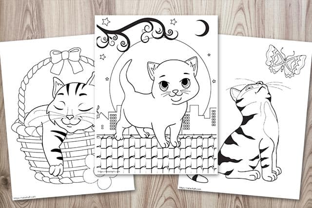Three cat coloring pages on a wood background