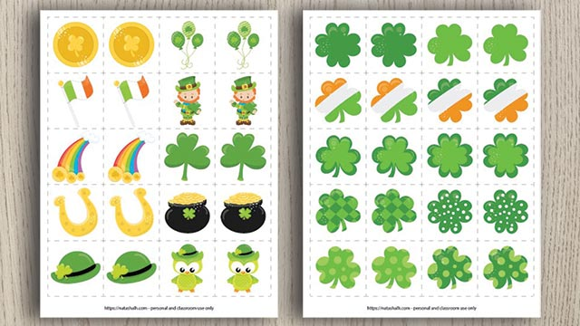 Free Printable St. Patrick's Day Matching Game (& a difficult version for older kids!)