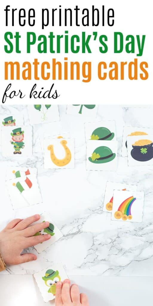 "Text ""free printable St Patrick's Day matching cards for kids"" with a photo of a toddler's hand reaching for a pair of St. Patrick's Day owl matching cards"