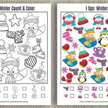 two free printable winter I spy puzzles on a wood background
