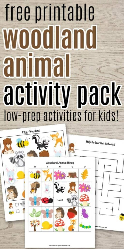 "text ""free printable activity pack low-prep activities for kids"" with an animal bingo board, maze, and i spy printable on a wood background"