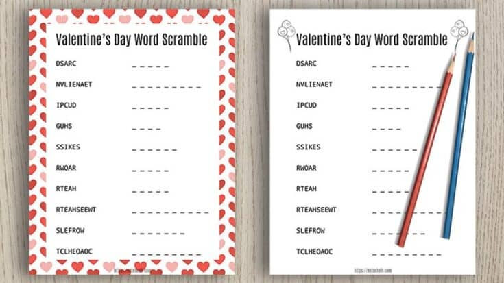 Free Printable Valentine's Day Word Scramble