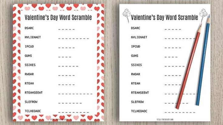 Free Printable Valentine's Day Word Scramble