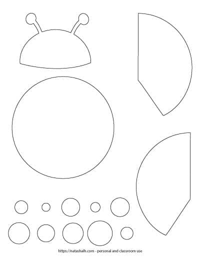 Printable ladybug craft template - cut and color ladybug