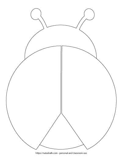 ladybug template without spots - large